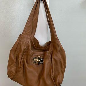 B Makowsky Hazelnut Leather Shoulder Bag